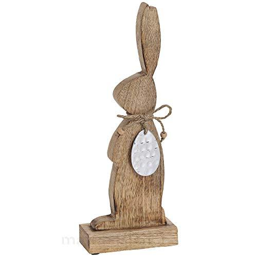 matches21 Rustikaler Osterhase stehend Mango Holz mit Deko Ei aus Metall Silber Dekofigur Ostern Holzfigur 1 STK 13x5x33 cm
