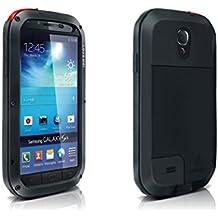 Alienwork Funda para Samsung Galaxy S4 prueba de choques protectora bumper case Resistente las salpicaduras Prueba de Polvo Anti-nieve Metal negro SI9500G-01