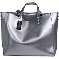 Greeniris Leder Handtasche Damen Schultertasche Shopper Tote Silber
