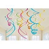 Amscan International - Confezione da 12 decorazioni pendenti, a forma di spirali turbinanti, in plastica, colore: Multicolore