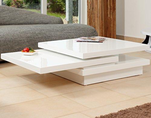 Couch Tisch Weiß Hochglanz Aus MDF 120x80cm Recht Eckig | Goci | Moderner  Wohnzimmer Tisch Weiss Mit Drehbarer Platte | Geöffnet 160cm X 80cm