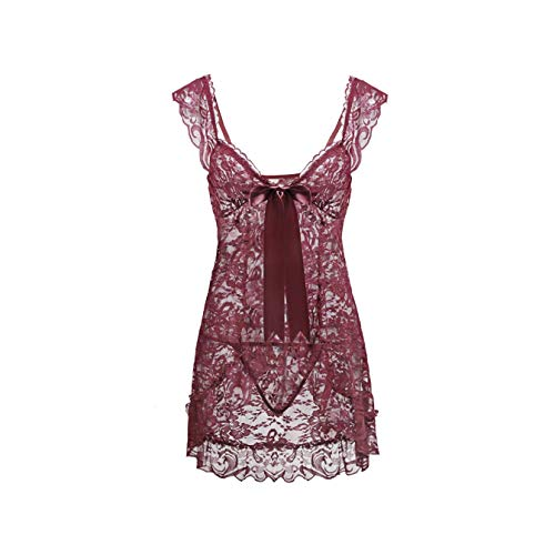 DROTYK& 2019 White Black Red Plus Size Clothes for Women 5XL 6XL Lace Sexy Lingerie Babydoll Front Open Nighty Chemise Sleepwear Pink M Sony Pictures Model