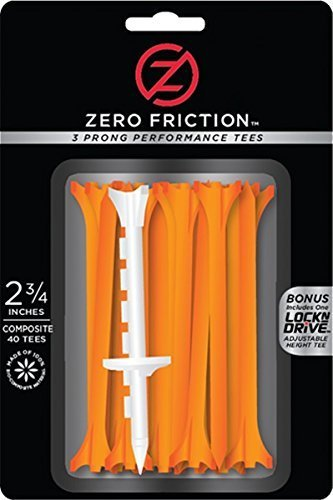 Zero Friction Tour 3-prong Golf Tees (2-3/4inch, orange, Pack of 40) by Zero Friction -