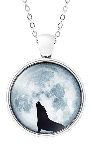 Klimisy - Wolf im Mondschein Kette mit Anhänger aus Glas - Buy one & Plant one Tree - Hochwertige Halskette mit Wolf-Medaillon - Eco & Fair -