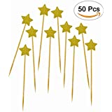DLOnline 50Pack Cupcake Topper Gold Glitter Star Cakes Toppers