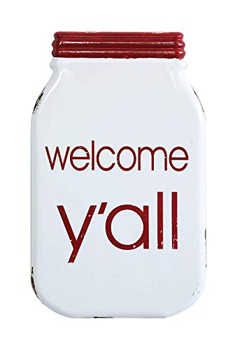 Creative Co-op Wandschild Welcome Y'all, emailliert, Mason Jar -