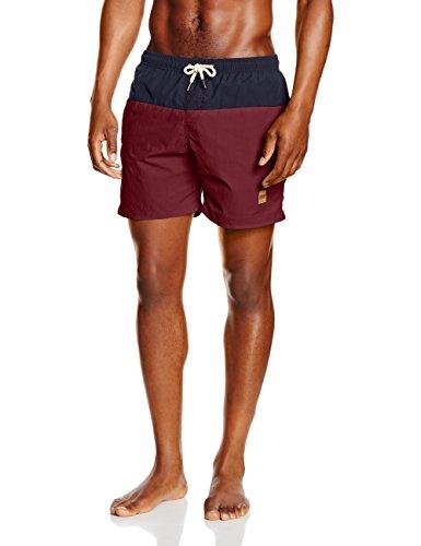 Urban Classics TB1026 Herren und Jungen Badehose Badeshorts Block Swim Shorts in angesagten Farben mit Netz Innenslip, Mehrfarbig (nvy/burgundy 675), Gr. L (Sportliche Jungen Shorts)