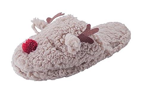 MaaMgic femme pantoufle chaussons hiver flou à la maison animal mignon intérieur anti-glissement