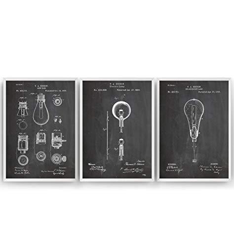 Thomas Edison Patent Poster - Set Of 3 - Jahrgang Drucke Drucken Bild Kunst Geschenke Zum Männer Frau Entwurf Dekor Vintage Art Blueprint Decor - Rahmen Nicht Enthalten -