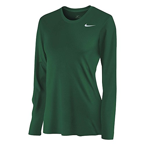 Nike Women's DriFit Legend Long Sleeve TShirt, Dark Green, LG -