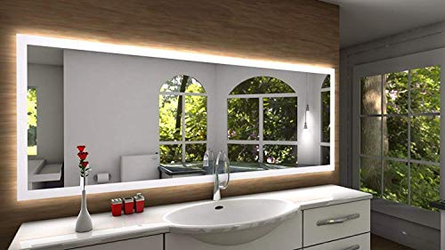Badspiegel Designo SETE mit A++ LED Beleuchtung - (B) 160 cm x (H) 70 cm - Made in Germany - Technik 2019 Badezimmerspiegel Wandspiegel Lichtspiegel TIEFPREIS rundherum beleuchtet Bad Licht Spiegel