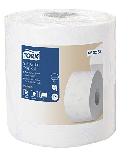 TORK 620263 Papier toilette Jumbo doux, 360 m x 9,7 cm, T1 - Vendu par 2 rouleaux de 1800 formats