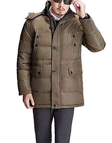 Brinny Veste d'hiver manteau élégant parka d'hiver manteau matelassé court parka avec capuchon de fourrure hommes Vert
