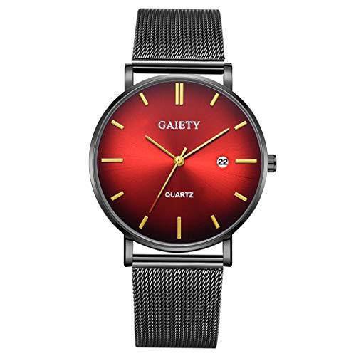Quartz Uhren für Herren, Skxinn Herrenuhren,Männer Business Fashion Modisch Analoge Armbanduhren mit Edelstahl Mesh-Gürtelband, Ausverkauf(L)