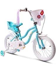 COEWSKE Vélo pour Enfants avec Cadre en Acier pour Enfants, Style Little Princess, 14 Pouces, avec Roue d'entraînement (Bleu)