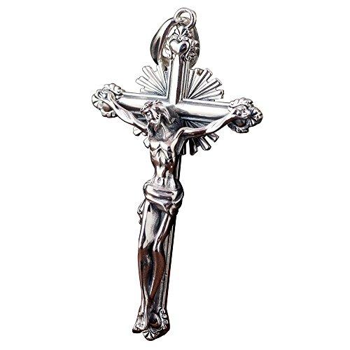 Vintage Big Echt 925 Sterling Silber Jesus Christus Kruzifix Kreuz Halskette Anhänger für Männer Jungen
