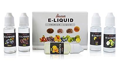 Salcar® 5x 20ml E-Liquid für E-Zigarette, 0,0mg Nikotin, Apfel, Traube, Orange, Blaubeere & Cola von Salcar