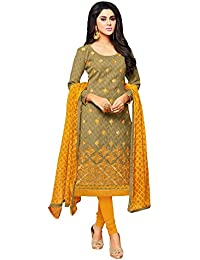 Applecreation Women's Cotton Jacquard Unstitched Salwar Suit Dress Material with Chiffon Dupatta (Multi Coloured_Free Size)