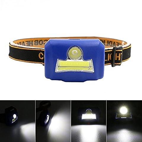 Happytop COB lampe frontale 3modes Mini lampe torche Poche lampe de poche Phare LED pour le camping randonnée S bleu