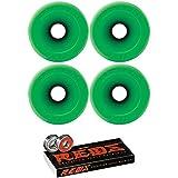 Kryptonics Wheels 75mm Kryptonics Wheels Star Trac Wheels With Bones Bearings - 8mm Bones REDS Precision Skate Rated Bearings - Bundle Of 2 Items