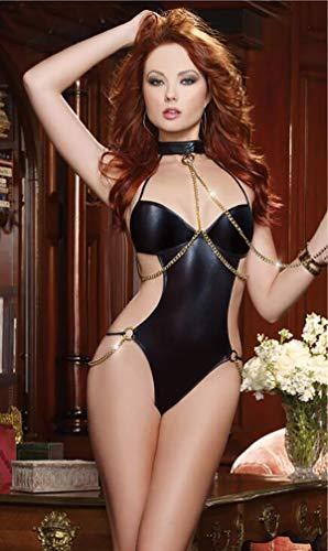 Ariel Unterwäsche (ariel& Erotische Unterwäsche Durchbrochene Schwarze Lackleder geladene sexy hängende weibliche Gefängnisuniform des Halskettenoveralls)