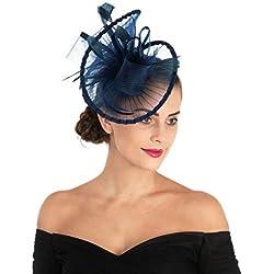 LUCKY Leaf Las mujeres chica tocados pelo Clip Horquilla sombrero boda coctel Tea Party sombrero de la pluma (3-Azul marino)