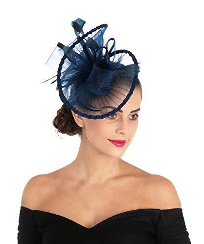 Lucky Leaf Fascinators Hut Blume Mesh Bänder Federn auf Einem Stirnband und Einem geteilten Clip Cocktail Tea Party Hochzeit Kirche Headwear für Mädchen und Frauen Braut(3-Marineblau) Vintage-damen-hut