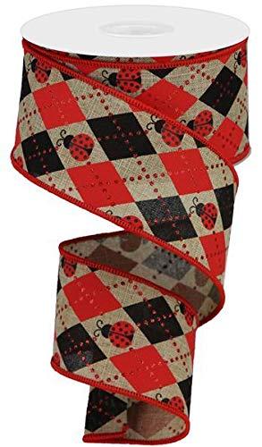 hellbeige rot schwarz Argyle-Marienkäfer auf königlichen 6,4 cm x 10 m für Kränze, Geschenkverpackung, Frühling, Ostern, Sommer ()