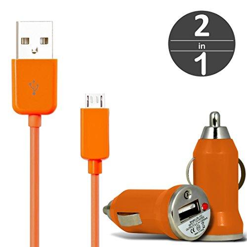 [2 in 1 Set] KFZ USB Charger Universal Ladegerät Adapter für Auto mit LED-Anzeige 1 A / 5 W + Micro USB 2.0 Kabel 1 m Datenkabel von wortek Orange