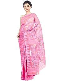 Tjsarees Women's Muslin Saree (Pink_ 5.5 Mtr)