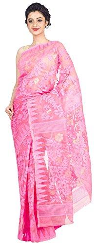 Tjsarees premium High Quality Handloom Muslin Dhakai Jamdani Sarees (Pink)
