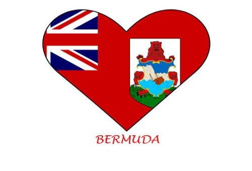 Bermuda-Flagge in Herzform, 6 Bügelbilder für Baumwolle/weiß - Transfer Bermuda