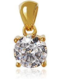 SHREEYANSH 18K GOLD PLATED OVER 925 STERLING SILVER PENDANT STUDDED WITH SIMULATED DIAMOND