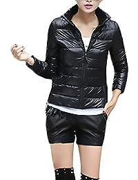 Donna Piumini Cappotto Corti Inverno Manica Lunga Leggeri Piumino Eleganti  Casuale Coat Taglie Forti Comode Ultralight 82e68fb557d