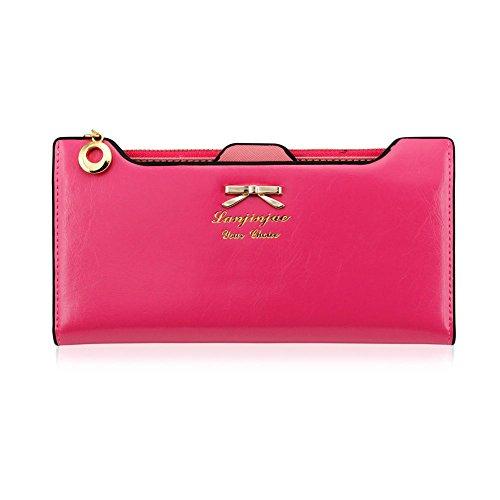 419oObD5TrL - CHIC-CHIC Women Vintage Clutch Wallet Button Card Holder Lady Long Handbag Bag Case Purse (Rose)