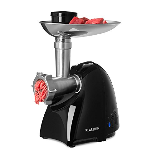 Klarstein Vampir Meat Grinder • Meat Processor • 600W • Stainless Steel Blades • Various Attachments • 3 Hygienic Perforated Discs • Shortbread Attachment • Sausage Filling Set • Standard Size no. 8 according to DIN Standard • Black