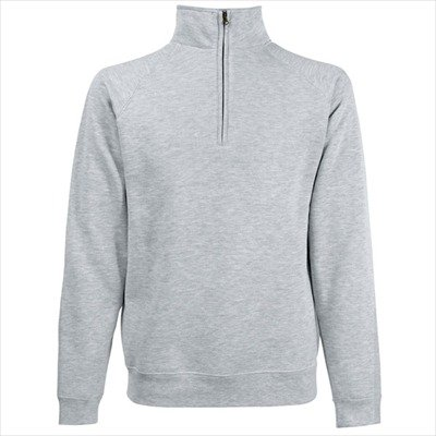 Fruit of the Loom - Troyer / Zip Neck Sweat 'Zip Neck Raglansweat' M,Heather Grey