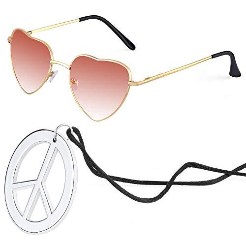 Beelittle Hippie Kostümzubehör für Herren und Damen - Retro John Lennon Hippie 60er Jahre Kreis Brille Friedenszeichen Halskette (Herz-Weinrot)