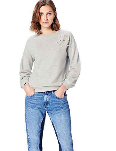 find. Sweatshirt Damen Baumwoll-Jersey, mit Perlendetails, Grau (Grey Marl), 36 (Herstellergröße: Small) -