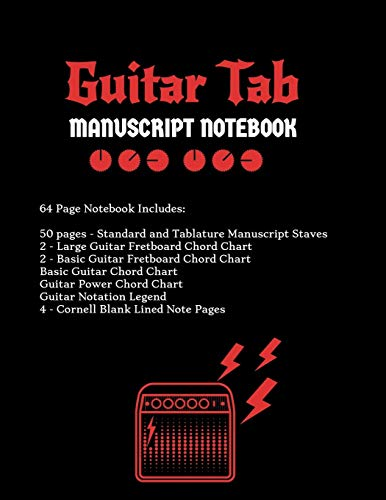 Guitar Tab Notebook: Standard & Tablature Staves w/ Basic Chord Charts, Power Chord Charts, Guitar Fretboard Chord Charts, Guitar Notation Legend with Cornell blank lined note pages - music journal (Basic Chord Chart Guitar)