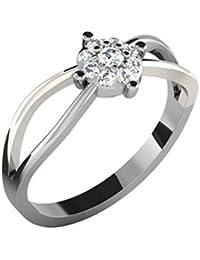 Silvernshine 0.17 Cts Round Cut Sim Diamond Solitaire Twist Ring In 14KT White Gold PL