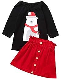 Mono bebé Conjuntos Niños pequeños Bebés Niñas Navidad Oso Estampado Tops Faldas sólidas Princesa Outifits