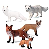 Fox Figures Set, 5PCS Animals Toy Figures Simulated Foxes, Safe & Odorless, Plastic Animal Learning Resource Educational Toy Kid