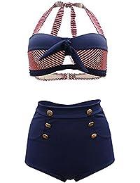 bb5bfe0a3a00c FUTURINO Women's Retro Nautical Sailor High Waist Bikini Sets Swimsuit