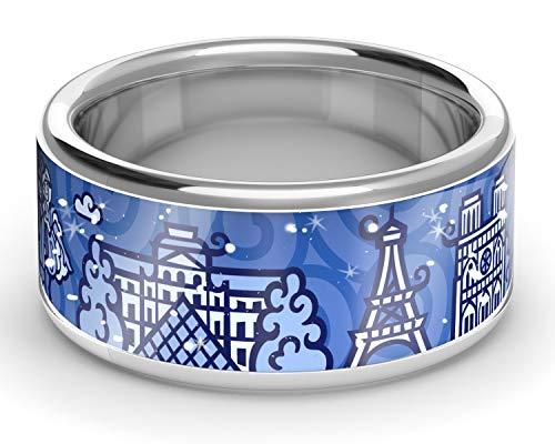 ZEBRA Paris Ring Silber (Navy Blue, 58 (18.5)) -