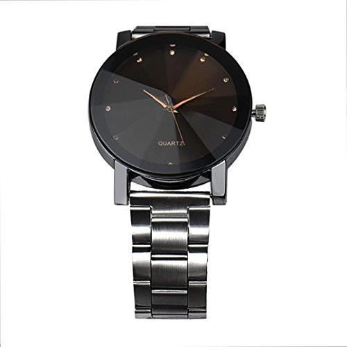 Uhren DELLIN Mode-Frauen-Kristall-Edelstahl-analoges Quarz-Armbanduhr-Armband (Schwarz)