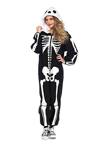 leton Kigurumi funsie, Damen Karneval Kostüm Fasching, einheitsgröße, schwarz/weiß (Damen Skelett Jumpsuit)