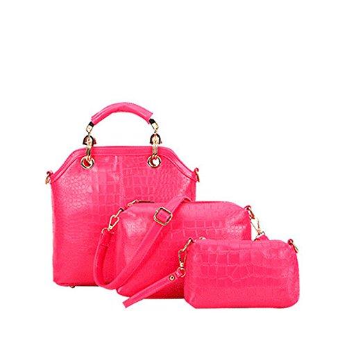 Einzelne Umhängetasche Handtasche Neue Dreiteilige Krokodil rose red