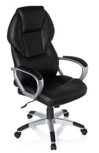 hjh OFFICE 634630 silla de oficina TREVISO piel sintética negro, buen precio, acolchado grueso, muy cómoda, con apoyabrazos acolchados, mecanismo de inclinación, sillón de oficina, inclinable, confort