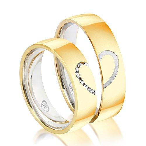 Eheringe mit Herzform Partnerringe Trauringe Verlobungsringe Freundschaftsringe in Gold Plattiert 5,50mm Breit *mit Gravur und Steinen*